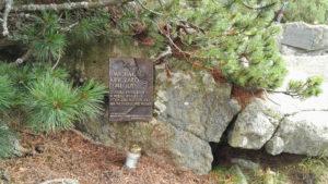 Tablica pamiątkowa na Tatrzańskim Cmentarzu Symbolicznym pod Osterwą