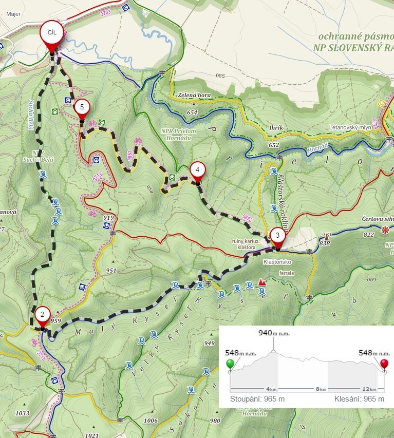 Mapa trasy Podlesok Suchá Belá Kláštorisko i Podlesok