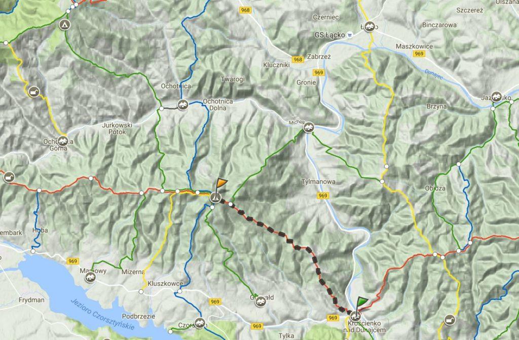 Mapa trasy Lubań Gorce
