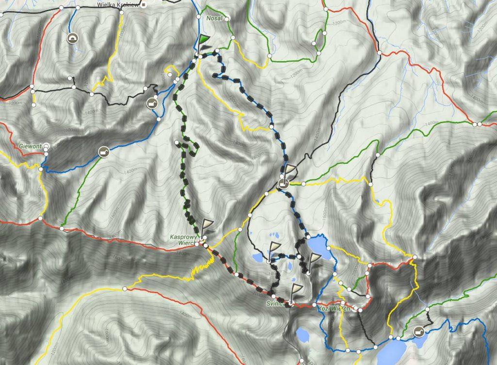 Mapa trasy Świnica Kościelec