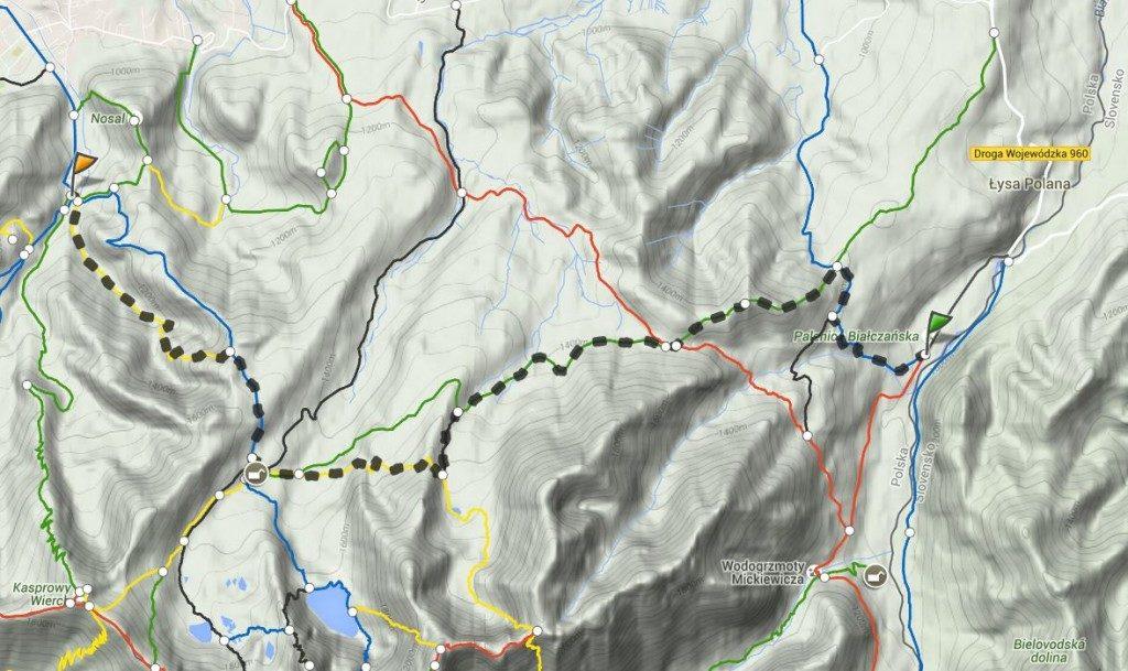 Mapa trasy gęsia szyja
