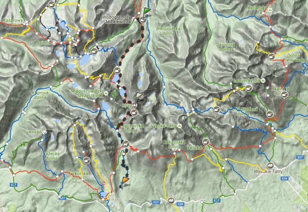 Mapa trasy Rysy