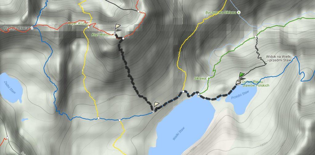 Mapa trasy na Kozi Wierch