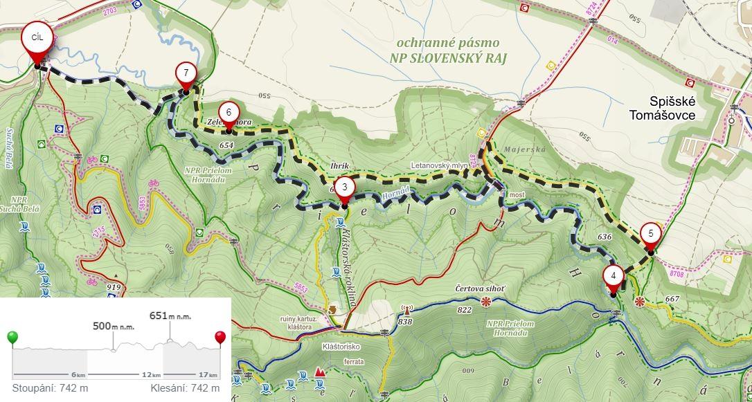 Mapa trasy Przełom Hornadu