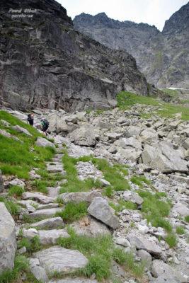 Szlak na Przełęcz pod Chłopkiem. Szlak prowadzi pod północną ścianą Kazalnicy