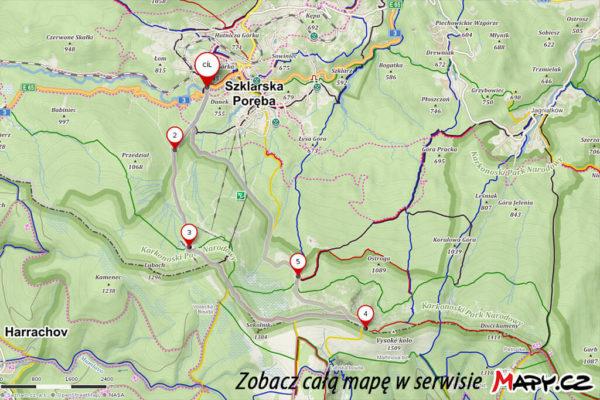 Szlak przez Śnieżne Kotły Szrenica Wodospad Kamieńczyka. Mapa proponowanej trasy
