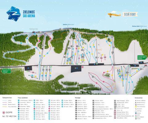Zieleniec Ski Arena mapa tras i wyciagow