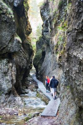 Niebieski szlak przez Janosikowe Diery. Droga obfituje w liczne kładki, które pozwalają przejść przez Diery suchą stopą
