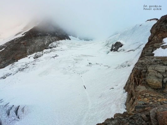 Softshell Marmot Leadville. Mniej więcej na tej wysokości droga wchodzi na lodowiec Laveciau