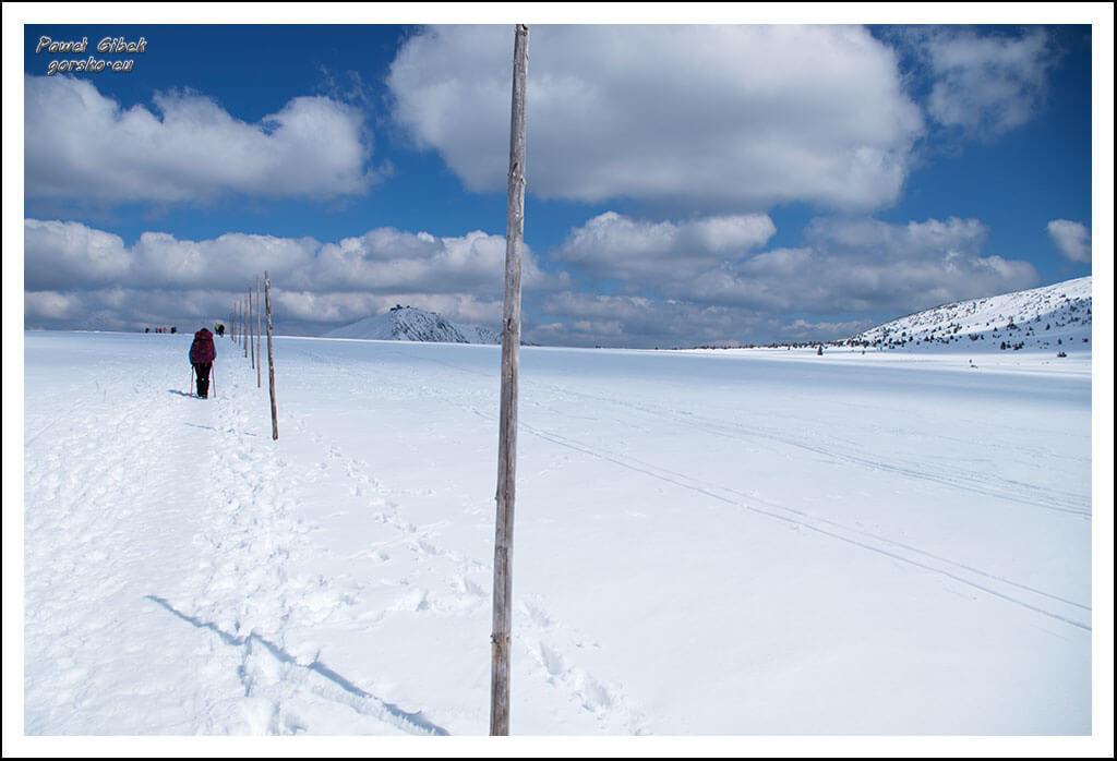 Szlak-na-Sniezke-Czechy-Tyczki-wyznaczają-szlak-pomiędzy-Luční-Bouda-a-Domem-Śląskim