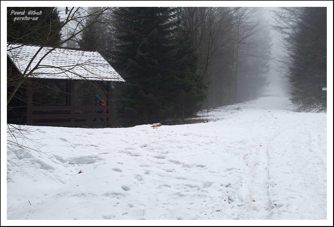 Mogielica zimą. Beskid Wyspowy. Altana w miejscu, gdzie łączą się szlaki żółty i niebieski